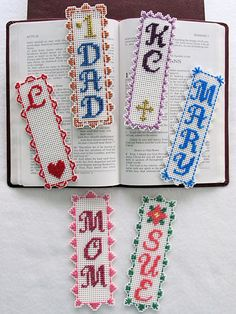 Personalize each bookmark for the perfect gift. Stitched on 10-count white plastic canvas with minimal stitching and fun borders. Complete alphabet is included, with space to add 1 to 4 designs on each bookmark. Optional designs include a flower, hea...