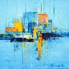 Pop Art, Street Art, Skyline Painting, Blue Artwork, Art En Ligne, City Scene, Oeuvre D'art, Les Oeuvres, Abstract Art