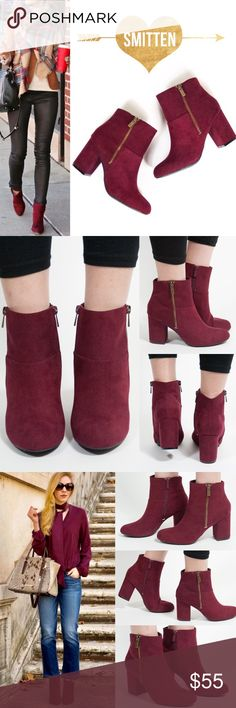 "TANYA chic suede booties - WINE WINE is the fiery hot color for this cold season! Jazz up any outfit with this comfy yet chic bootie. Approx heel height: 3"". Faux suede. Non-functioning zipper on outside of bootie. Actual functioning zipper for the inside of the bootie. Fit is TRUE TO SIZE. NO TRADE, PRICE FIRM Bellanblue Shoes Ankle Boots & Booties"