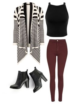"""""""Cardigan and maroon jeans"""" by beautyfoolyou on Polyvore featuring SWEET MANGO, Topshop, Miss Selfridge and Jane Norman"""