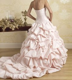 Cheap Elegant New Style Light Pink Strapless Sweetheart Taffeta Princess Wedding Dress