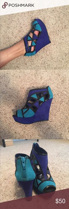 Dual blue colored wedges Amazing colored shoes, perfect for any occasion! Only worn once to a homecoming dance. Giani Bini Shoes Wedges