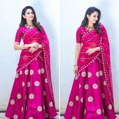Mahi Fashion ~ Products ~ Rakul Preet looks beautiful in Mishru Pink Lehenga Saree at Rarandoi Veduka Chudam ~ Shopify Half Saree Lehenga, Lehnga Dress, Lehenga Style, Lehenga Choli Online, Anarkali, Sari, Lehenga Suit, Saree Blouse, Pink Lehenga