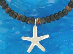 Reef Jewellery - Silver Starfish Pendant on Picasso Jasper Bead Necklace - Scuba Diving