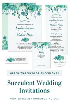 These wedding invitations feature a green succulent foliage design in a watercolor style. Please visit our website to see the full range of matching wedding stationery that you can personalize for your wedding day.#wedding #weddings #weddinginvitations #weddinginvites #weddingstationery #weddinginvitationsuite #succulentwedding #succulentweddinginvitations #succulentweddinginvites #bohowedding #desertwedding