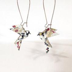 Origami colombe, boucle d'oreille origami oiseau papier japonais, bijou origami argenté doré noir
