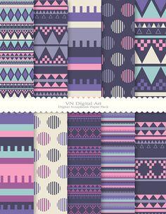 Digital Paper Aztec Digital Scrapbook Paper Pack by VNdigitalart