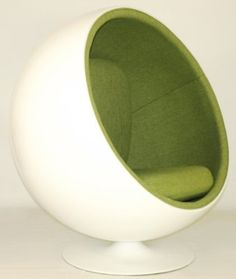 Amazon.com: Designer Modern Eero Aarnio Ball Chair with Green Interior - With: Home & Kitchen