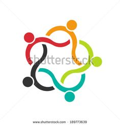 Teamwork Wave 5 group of people. Concept of community, friendship,union. Vector icon