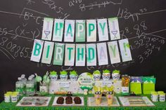 Mad Science Dessert Table - I LOVE this. With a husband who is a chemist, I'm sure one of my kids will want a party like this someday