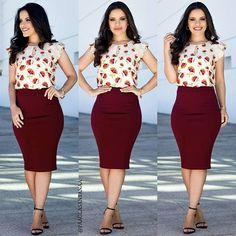 Meu look da saia lápis linda e blusa com detal Cute Skirt Outfits, Cute Work Outfits, Office Outfits Women, Cute Skirts, Diva Fashion, Fashion Looks, Modest Fashion, Fashion Dresses, Color Combinations For Clothes