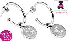 Sterling Silver - Earrings - Post Hoop Stud Earrings with Monogrammed Dangle Disc ENGRAVED STERLING COLLECTION IS HERE!   www.misslucysmonograms.com