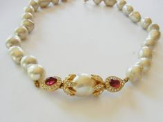 Ciner Baroque Pearl Ruby Red Cabachon Pave by RockArtemisVintage, $129.00
