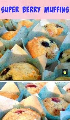Super Berry Muffins - Quick & Easy and use your favourite berries, fresh or frozen! #berry #muffin #cake