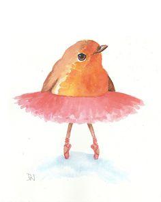 Bird Watercolor  Original Painting Ballet Art by WaterInMyPaint