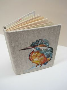 Alice Stanne: April 2010 | acrylic on handmade linen KINGFISHER book