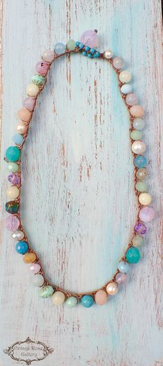 Spring Crocheted  Boho Chic Necklace Spring Pastel Boho