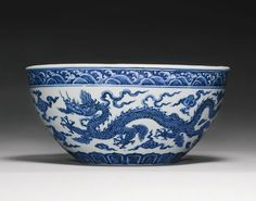 A rare and important blue and white 'Dragon' bowl (bo), Xuande mark and period 1