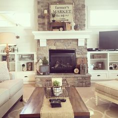 Living Room decor - rustic farmhouse style with stone clad fireplace, painted white wood mantle shelf, cream and white trellis patterned rug, wood coffee table and light and bright color palette | yellow prairie