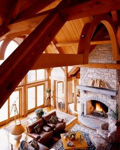 Great room with fireplace and round woodwork