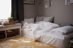 11 Most Inspiring Floor Beds Ideas For Your Favorite Bedroom - Bed and Bedcover Matress On Floor Ideas, Mattress On Floor, Mattress Frame, Bedroom Bed, Girls Bedroom, Bedroom Decor, Bedding Decor, Master Bedroom Ideas On A Budget, Floor Bed Frame