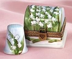 French handpainted Limoges porcelain box and thimble with antique brass trim.