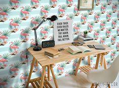 Flamingo Wallpaper Girls Room Self-Adhesive Nursery Pink Wall Decor Peel&Stick #Unbranded #ArtDecoStyle