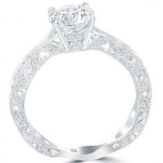 2016 Vintage Round Diamond Engagement Ring | Liori Diamonds side