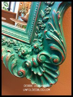 Mirror frame painted with Emperor's Silk beneath Florence Chalk Paint® decorative paint by Annie Sloan