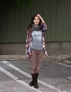 #OOTD with Corduroy pants, plaid shirt with ruffles and Einstein graphic tee