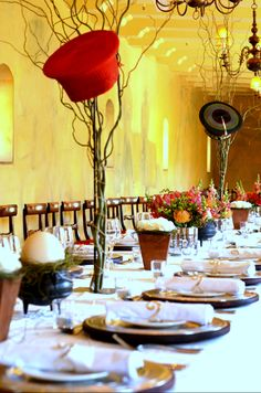 Hats, hats and more hats to add some local culture to this event set up. #damask #eventplanning