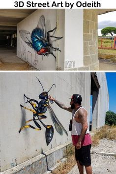 Larger-Than-Life Insects Lurk Around Abandoned Buildings in Anamorphic Street Art by Odeith – My Street Inspiration art art graffiti art quotes 3d Street Art, Street Art Graffiti, Murals Street Art, Amazing Street Art, Street Artists, Amazing Art, Urban Street Art, Graffiti Artists, Illusion Kunst