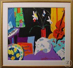 Jazzy Cat by George Hamilton - Zantman Art Galleries - Fine art gallery in Carmel, CA George Hamilton, Fine Art Gallery, Galleries, Artsy, Cat, Painting, Art Gallery, Cat Breeds, Painting Art