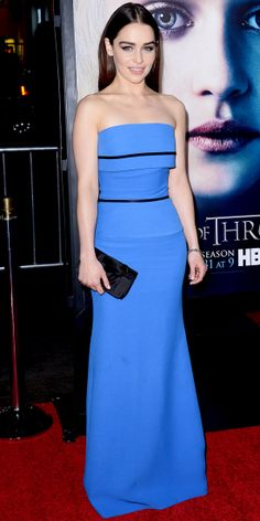 Emilia Clarke hit the Game of Thrones L.A. premiere in a strapless Victoria Beckham gown. She finished the look with a Christian Louboutin clutch, Jacob & Co. bracelet, bold smoky eyes and a sleek center part