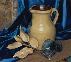 """Accent on Blue,"" Luigi Lucioni, 1975, oil on canvas, 16 1/8 x 18 1/4"", Questroyal Fine Art."