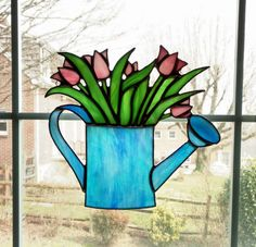 Stained Glass Tulips in Watering Can by StainedGlassYourWay