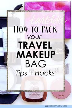 How To Pack Your Travel Makeup Bag Tips + Hacks! (Best Travel Makeup Essentials + Travel Makeup Bag Organization Tips) Packing Tips For Travel, Travel Bags, Travel Ideas, Packing Lists, Travel Info, Vacation Packing, Travel Stuff, Cheap Travel, Travel Backpack