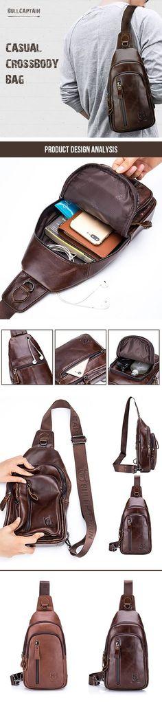 US$38.28#Bullcaptain Casual Vintage Genuine Leather Multi-pocket Chest Bag Crossbody Shoulder Bag For Men