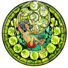 Mowgli stained glass