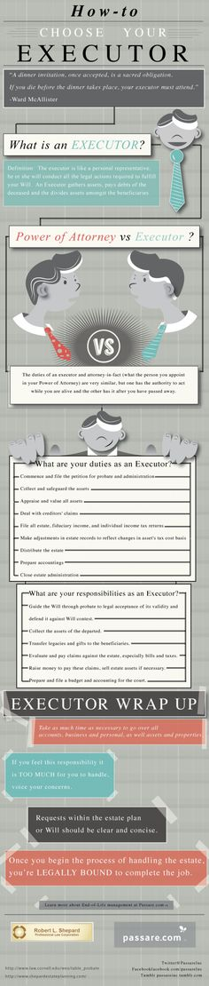 I love info-graphics! Especially when they explain important things like how to choose an executor for your will!