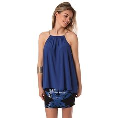 Blue halter top with gold-tone chain straps – Fashion Gal Freedom