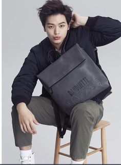 Kim So Hyun and Sungjae for Hazzys Accessories Sungjae Btob, Minhyuk, Pink Fuzzy Sweater, Yongin, Seong, Korean Celebrities, Kpop Boy, Vixx, Leather Backpack
