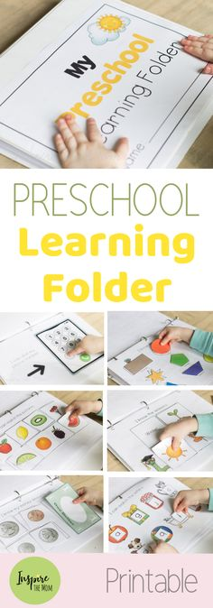 Updated Preschool Learning Folder - Inspire the Mom - Great for all preschoolers! This interactive, preschool learning folder teaches colors, alphabet, n - Kindergarten Prep, Preschool At Home, Preschool Kindergarten, Toddler Preschool, Preschool Crafts, Rhyming Preschool, Preschool Binder, Preschool Rooms, Daycare Crafts