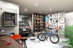 ガレージ   自転車を趣味とした空間_3B-01 ... Bicycle Storage, Garage House, Storage Solutions, Entrance, House Plans, Indoor, Architecture, Interior, Table