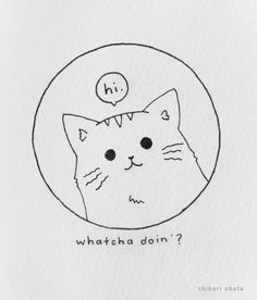 30 Easy Circle Drawing Ideas Easy Doodles Drawings, Cute Easy Drawings, Cute Little Drawings, Simple Doodles, Cute Doodles, Bird Drawings, Simple Cat Drawing, Circle Drawing, Mountain Drawing Simple