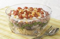 Layered Pasta Salad recipe - This make-ahead pasta salad is layered with ham, cheese, tomatoes and onions—perfect for picnics, barbecues and anywhere else people like to eat. #potluck