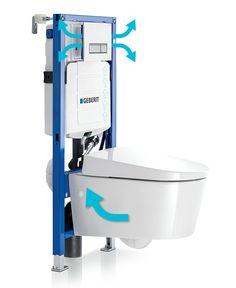 Geberit DuoFresh inbouwreservoir: voert nare geurtjes direct af vanuit de toiletpot, het filter neutraliseert, waarna de frisse lucht terug de ruimte in wordt geblazen. Stank hoeft niet te stinken. | GEBERIT DUOFRESH