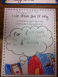 Cute idea for students to relate and make a personal connection to MLK