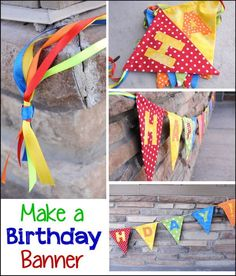 DIY Birthday Banner.  These crafty and colorful banners will be the perfect decoration items for any party. Get the tutorial