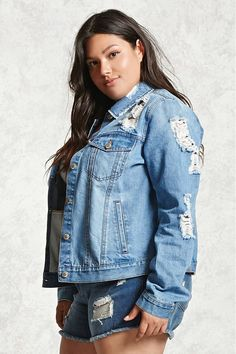 Product Name:Plus Size Distressed Denim Jacket, Category:plus_size-main, Price:34.9